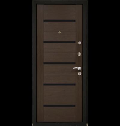 Входная металлическая дверь МеталЮр М7, Венге мелинга, чёрное стекло